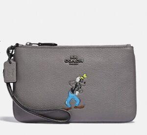 COACH X Disney Goofy Grey Leather Wristlet New
