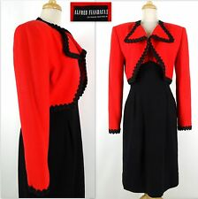 Vintage ALFRED FIANDACA 2 PC Dress Suit Cropped Jacket 10 Black Red Wool Blend