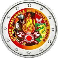 Italien 2 Euro 2020 bfr. 80 Jahre Feuerwehr in Farbe