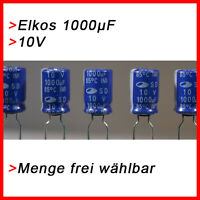 ELKO Kondensatoren 1000 µF 10V (BIS 10V) Elkos Elektrolytkondensator 1000µF uF