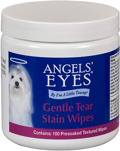 Angels' Eyes Gentle Tear Stain Wipes for Dogs and Cats - 100 Ct - Presoaked Text