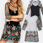 ZANZEA Fashion Women Floral Embroidery Lace Mesh 3/4 Sleeve Mini 2PCS Dress