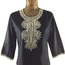 NEW BIBA Tunic Top Black Off White Embroider V Neck 3/4 Sl Long Shirt Dress NWT