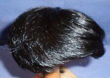 """Black human hair doll wig, 9"""" to 9.5"""", 23 - 24 cm, short haircut, Glorex"""