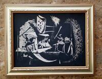 PABLO PICASSO ORIGINAL 1961 TOREROS ORIGINAL LITHOGRAPH NOT SIGNED WOOD FRAMED