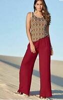 Bonprix ROSE CERISE PINK wide leg elasticated slacks trousers UK 16 EU 44 32L