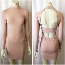 NWT ASOS Petite Size 4P Pink Long Sleeve Open Back Bodycon Mini Dress