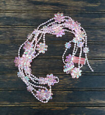 Christmas Garland Pink Iridescent Beaded with Flowers Victorian Style 9 foot