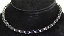 14K white gold elegant 50.31CTW diamond & 7.9 X 6mm Blue sapphire link necklace