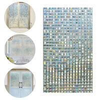 3D Mosaic bathroom stickers Colorful Square Stained Glass Window Door Film Decor