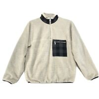 Adam Lippes Pull Over 1/4 Zip Sherpa Jacket Mens S Small Long Sleeve Plaid Trim