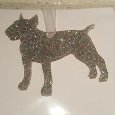 ENGLISH BULL TERRIER DOG GLITTER CHRISTMAS TREE DECORATIONS MATCHING RIBBON