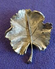 "B.S.K. Brushed/Shiny Rippled Silver Leaf Vintage Brooch/Pin 2"" x 1.5"""