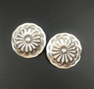 Native American Navajo Old Style Stamped Sterling Silver Large Concho Earrings
