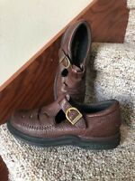 Rockport Size 5.5 Shoes Pro Walker Brown Pebbled Leather T-Strap Buckle