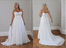 White Ivory Plus Size Chiffon Beach Wedding Dress Bohemian with Pearl Beads