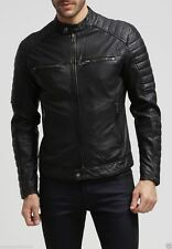 NEW Men's Leather Jacket Black Slim Fit Biker Motorcycle Genuine Lambskin Jacket