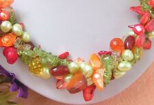 """19"""" 4 Strands Pearl Peridot Agate Coral Necklace"""