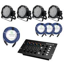 4x SET ECLAIRAGE SCENE DJ PA EFFET LUMIERE DISCO RGBW DMX CONTROLEUR XLR CABLES