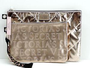Victoria's Secret 2 Piece Metallic Pouch Cosmetic Bag Case Makeup Set New!