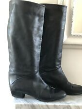 Vintage Black Leather By Bally Slouch Boots Pull On EU 40 UK 7