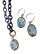 Aqua Crystal on Brown Silk Chain. Necklace with Matching Earrings. Jane A Gordon