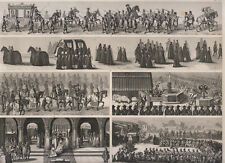 Usi e costumi antichi, processioni, funerali, processi, incorona 1850  bulino