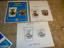 3 PIECE LOT ORIGINAL ART SPIDERMAN BURGER KING FASTFOOD TOY CUP & PROOF SHEET