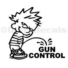 "6"" Calvin Pee Piss on Obama's Liberal Gun Control Vinyl Decal Window Sticker"