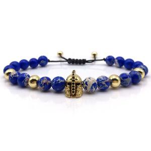 8mm Blue Lazuli Stone Beads King Helmet Charm Adjustable Bracelets For Men Women
