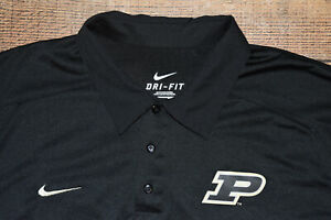 Nike Dri Fit NCAA Sideline Coach's Purdue Boilermakers Polo Shirt Men Large B28