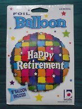 "Happy RETIREMENT bright coloured squares 18"" Foil Balloon"