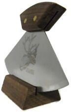 "Alaska Ulu Knife Walnut Handle Caribou Etched 6"" Blade"