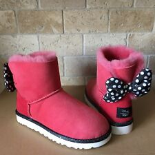 UGG DISNEY SWEETIE BOW RED SUEDE BOOTS SIZE US 6 WOMENS LIMITED EDITION