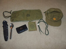 Vintage Boy Scouts Cub Scouts Lot Utensil Kit ID Wallet Hat Slide Fire Kit