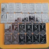 Lot 26 X 1 Gram .999  Fine Silver Bar Bullion / A~Z  English 26 letters WP398 oz
