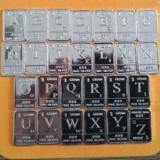 Lot 26 X 1 Gram .999  Fine Silver Bar Bullion / A~Z  English 26 letters WP398 oz