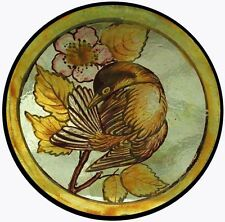 Beautiful Victorian Painted Bird In Blossom English Stained Glass Roundel
