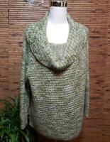 Chicos Green Sweater Size 3 Petite = XL Cowl Neck Loose Weave Sequins Sparkle