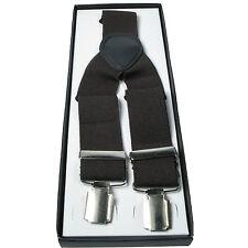 Mens Brown 40mm Elasticated Plain Braces Adjustable Suspender 3 Clip UK Seller
