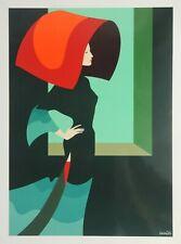 Amleto Dalla Costa Modezeichnung Fashion Illustration Siebdruck 49x64cm L'attesa