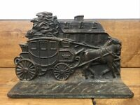 Vintage Cast Iron Stagecoach Door Stop Heavy Book End
