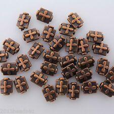 Antique Copper Oblong Beads 18 Pieces Alloy Metal 7mm x 9mm  #0007
