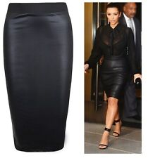Ladies Wet Look Faux Leather PVC Stretch Bodycon Fit Womens Black Pencil Skirt