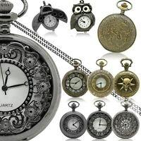 Ketten-Uhr Quarz Damen Umhängeuhr Halskette Vintage Eule Marienkäfer Taschenuhr