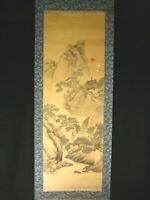 ANTIQUE JAPANESE TAISHO ERA HAND PAINTED SCROLL CRANE OF HAPPINESS & TURTLE  ~