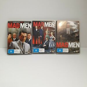 MAD MEN DVD TV Series Seasons 1, 2 & 3 (3-Disc Set)~ As New Condition Free Post