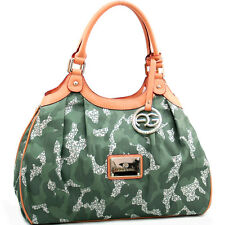 Women Handbag Camouflage Faux Leather Camo Shoulder Hobo Bag Large Day Purse