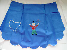 Vtg Blue Half  Apron Asian Chinese Applique Boy with Pigtail Embroiderered Kite
