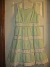 The Childrens Place Girls Green/White Summer, Church Dress,Size 8, EUC